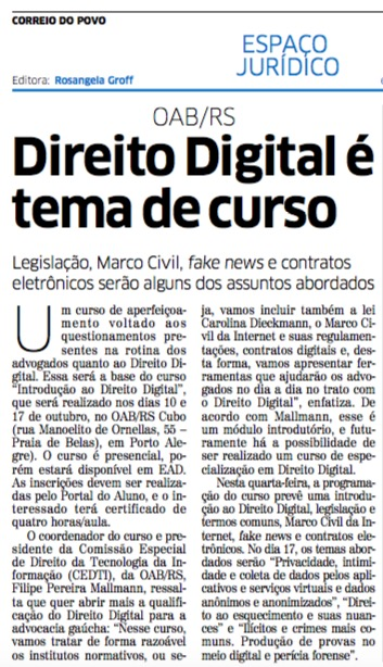 Pereira e Mallmann Direito Digital Correio do Povo Ecommerce Startup